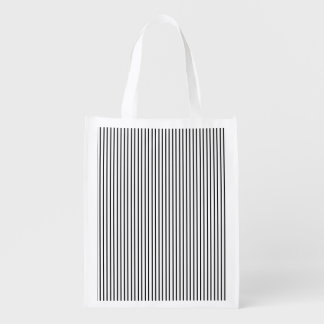 Black Pinstripe Reusable Grocery Bag