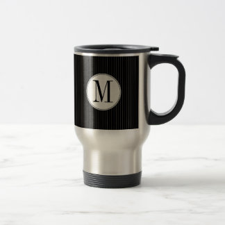 Black Pinstripe Single Monogram Mug