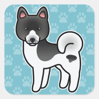 Black Pinto Cartoon Akita Square Sticker