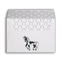 Black Pinto Cartoon Trotting Horse Illustration Envelope