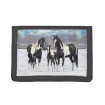 Black Pinto Quarter Horse Paint Horses In Snow Tri-fold Wallet