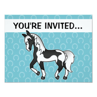 Black Pinto Trotting Cartoon Horse Card