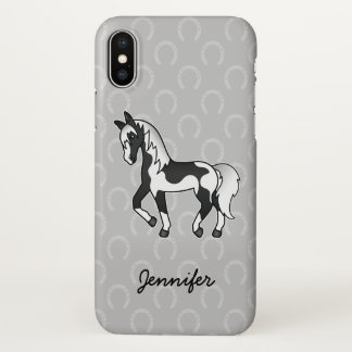 Black Pinto Trotting Cartoon Horse & Name iPhone X Case