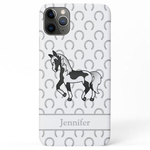 Black Pinto Trotting Horse Cartoon Illustration iPhone 11 Pro Max Case