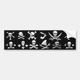 BLACK PIRATE BANNERS SKULL,CROSSED BONES,SWORDS BUMPER STICKER