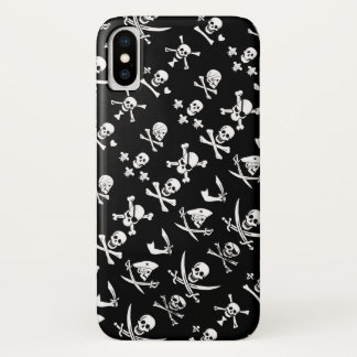 BLACK PIRATE BANNERS SKULL,CROSSED BONES,SWORDS iPhone X CASE