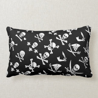 BLACK PIRATE BANNERS SKULL,CROSSED BONES,SWORDS LUMBAR PILLOW