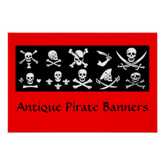 BLACK PIRATE BANNERS SKULL,CROSSED BONES,SWORDS POSTER