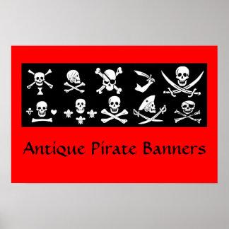 BLACK PIRATE BANNERS SKULL,CROSSED BONES,SWORDS POSTER
