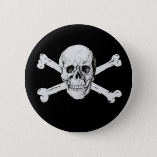 Black Pirate Skull and Crossbones Pinback Button