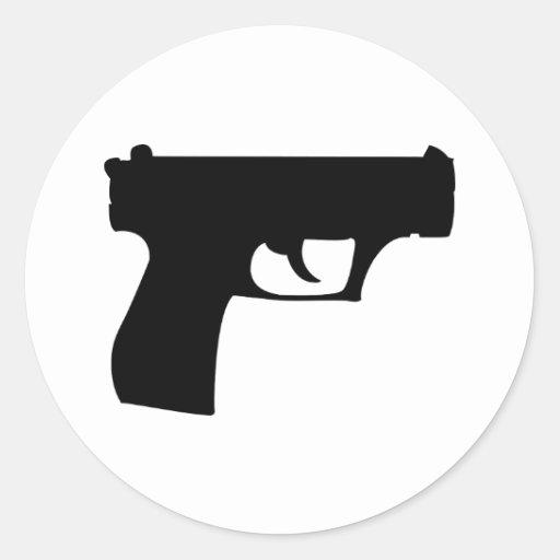black pistol - gun round stickers