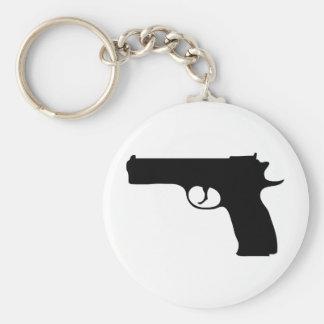 black Pistol icon Basic Round Button Keychain