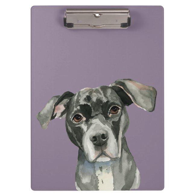 Black Pit Bull Dog Watercolor Portrait