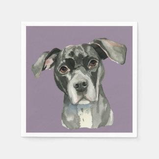 Black Pit Bull Dog Watercolor Portrait Paper Napkin
