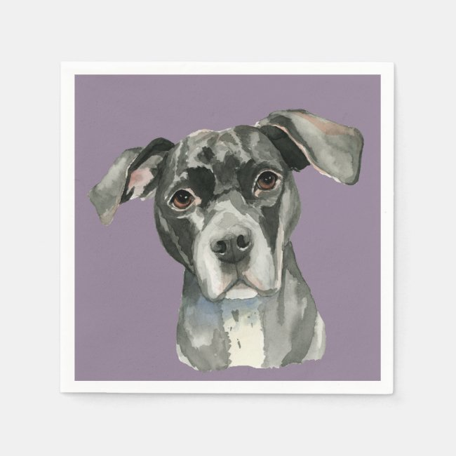 Black Pit Bull Dog Watercolor Portrait