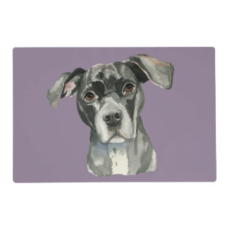 Black Pit Bull Dog Watercolor Portrait Placemat
