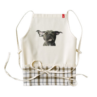 Black Pit Bull Dog with Wiggly Ears Watercolor Zazzle HEART Apron