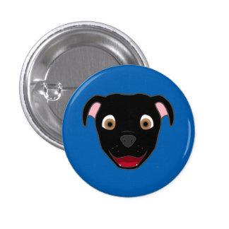 Black Pitbull Face Button