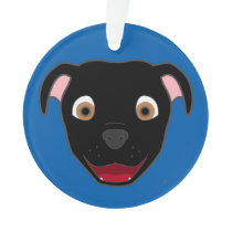 Black Pitbull Face Ornament