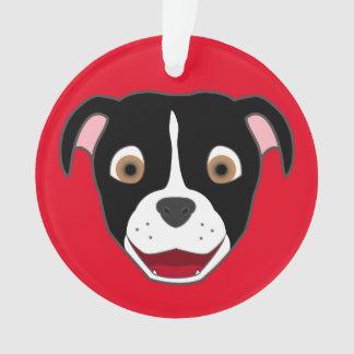 Black Pitbull Face with White Blaze Ornament