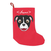 Black Pitbull Face with White Blaze Small Christmas Stocking