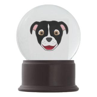 Black Pitbull Face with White Blaze Snow Globe