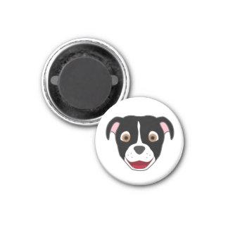Black Pitbull with Blaze 1 Inch Round Magnet