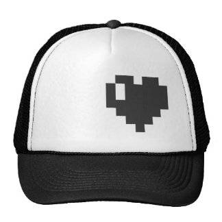 Black Pixel Heart Cap Trucker Hat