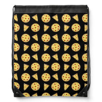 Black pizza pattern drawstring backpack
