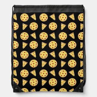 Black pizza pattern drawstring backpack