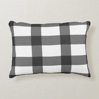 Black Plaid Accent Pillow