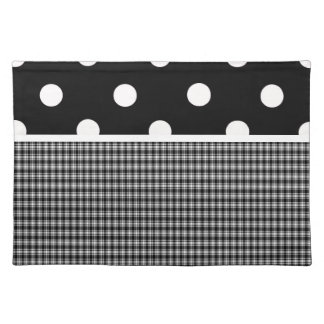 Black Plaid and Polka Dots Cloth Placemat