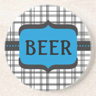 Black Plaid Beer Coaster