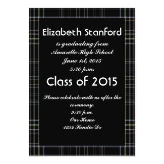 Black Plaid Graduation Invitation
