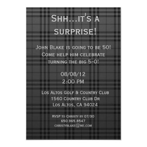 Black Plaid Invitation