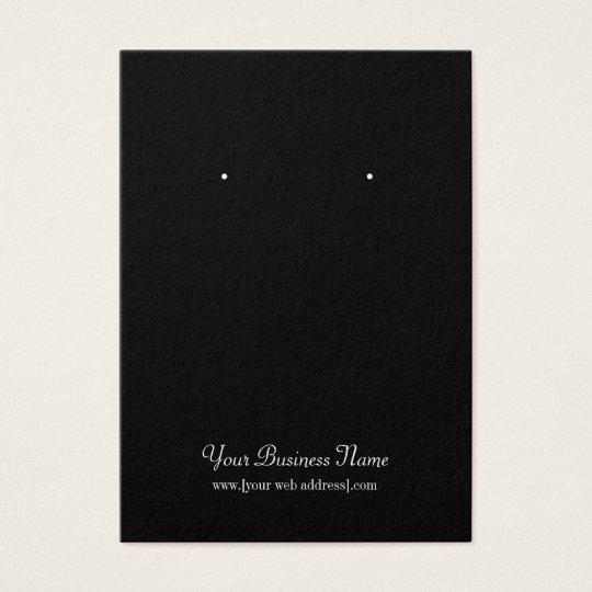 Black Plain Simple Custom Earring Card