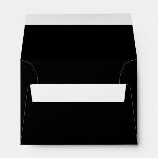 Black, plain solid color on inside and outside envelope