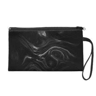 Black Plasma Energy Abstract Art Wristlet Purse