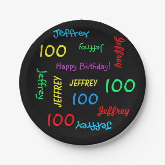 Black Plates, 100th Birthday Party Repeating Names Paper Plate