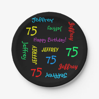 Black Plates, 75th Birthday Party, Repeating Names Paper Plate