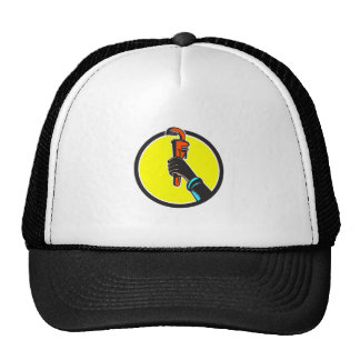 Black Plumber Hand Raising Monkey Wrench Circle Trucker Hat