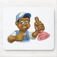 Black Plumber Handyman With Punger Cartoon Man Mouse Pad