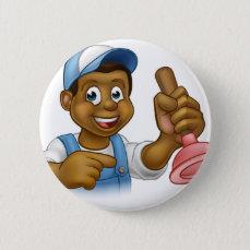 Black Plumber Handyman With Punger Cartoon Man Pinback Button