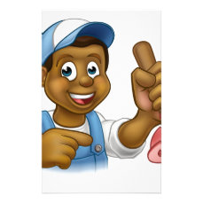 Black Plumber Handyman With Punger Cartoon Man Stationery