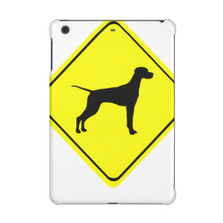 Black Pointer Dog Silhouette Caution Crossing Sign iPad Mini Cases