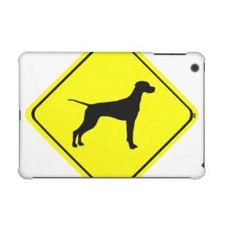 Black Pointer Dog Silhouette Caution Crossing Sign iPad Mini Covers
