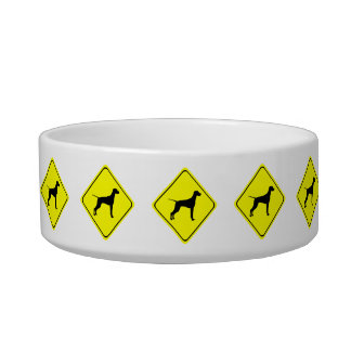 Black Pointer Dog Silhouette Caution Crossing Sign Cat Bowl