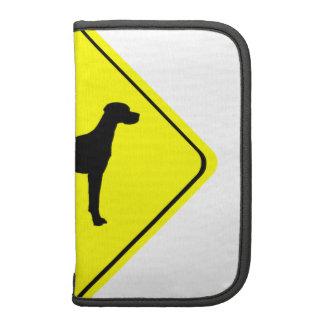 Black Pointer Dog Silhouette Caution Crossing Sign Organizer