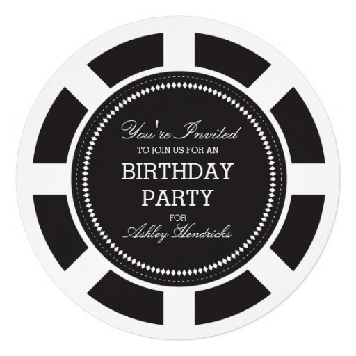 Black Poker Chip Birthday Party Invitation (front side)