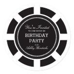 "Black Poker Chip Birthday Party Invitation 5.25"" Square Invitation Card"